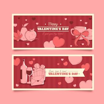Banners do dia dos namorados vintage