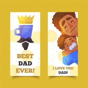 Banners do dia dos pais em aquarela