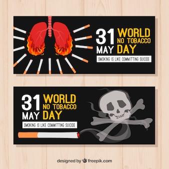 Banners do dia mundial da aguarela anti-tabaco