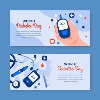 Banners do dia mundial da diabetes com dispositivo