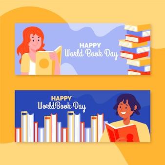 Banners do dia mundial do livro desenhados à mão