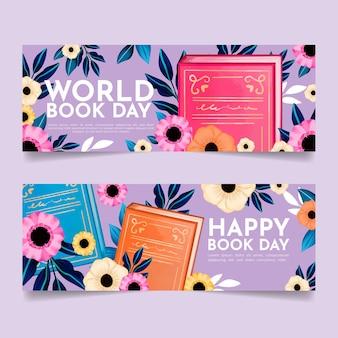 Banners do dia mundial do livro em aquarela