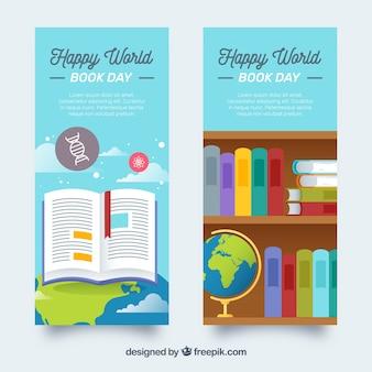 Banners do dia mundial do livro em estilo simples