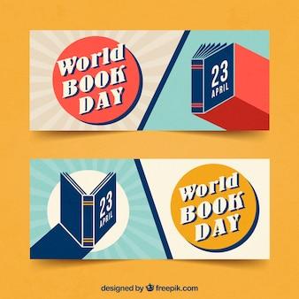Banners do dia mundial do livro em estilo vintage
