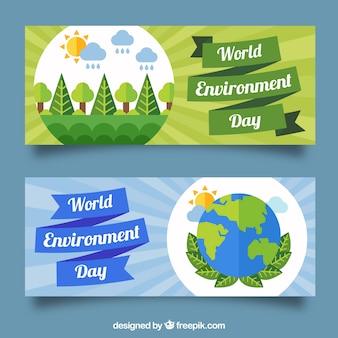 Banners do dia mundial do meio ambiente