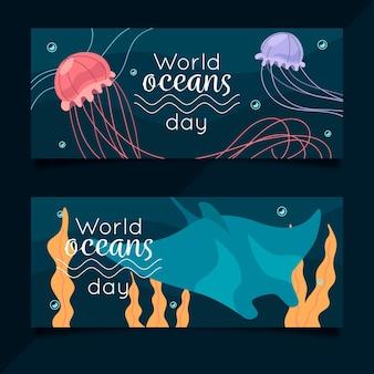 Banners do dia mundial dos oceanos com água-viva