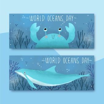 Banners do dia mundial dos oceanos com caranguejo e golfinho