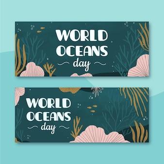 Banners do dia mundial dos oceanos com o mundo marinho