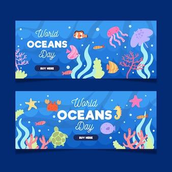 Banners do dia mundial dos oceanos com peixes e criaturas marinhas