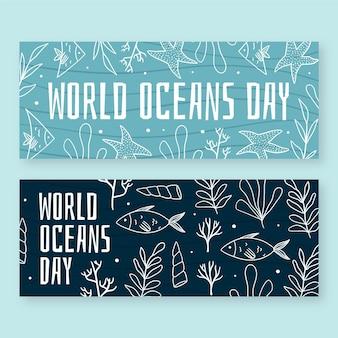 Banners do dia mundial dos oceanos com peixes e vegetação