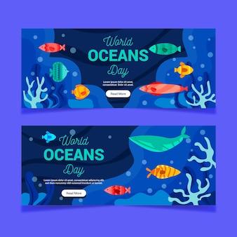 Banners do dia mundial dos oceanos com peixes