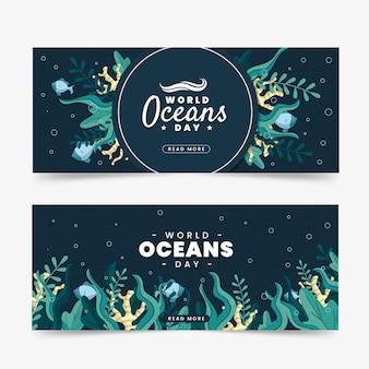 Banners do dia mundial dos oceanos com vegetação marinha