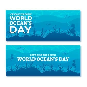 Banners do dia mundial dos oceanos com vegetação subaquática