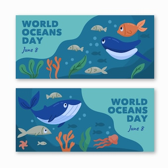 Banners do dia mundial dos oceanos desenhados
