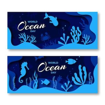 Banners do dia mundial dos oceanos em estilo de jornal com peixe
