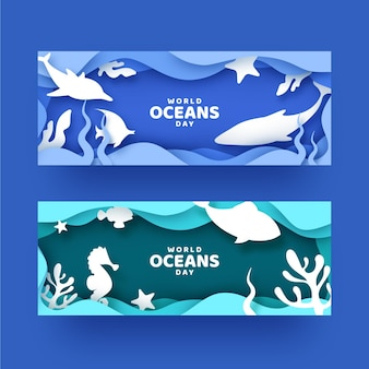 Banners do dia mundial dos oceanos