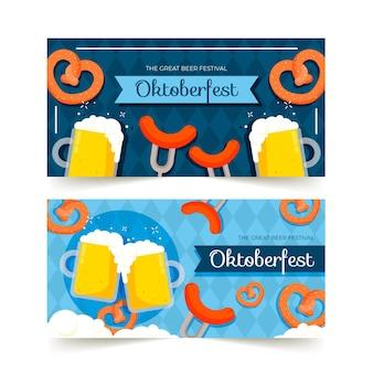 Banners do festival de cerveja design plano oktoberfest