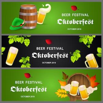 Banners do festival de cerveja em verde e preto