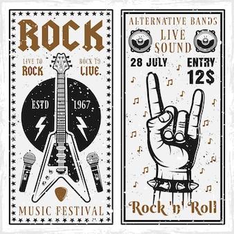 Banners do festival de música rock com guitarra e mão