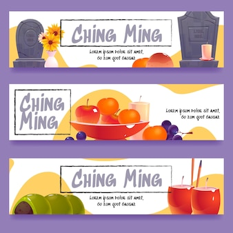 Banners do festival flat ching ming