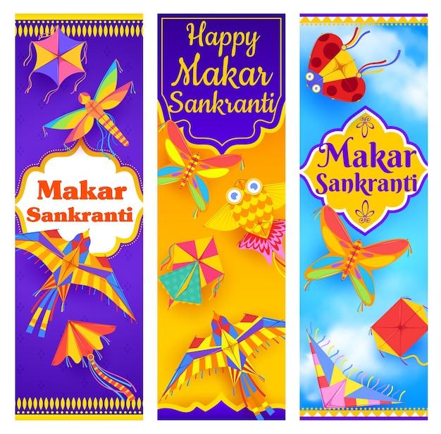Banners do festival indiano makar sankranti com celebração do feriado da religião hindu