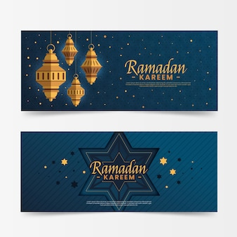 Banners do ramadã design plano