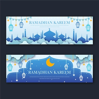 Banners do ramadã plana