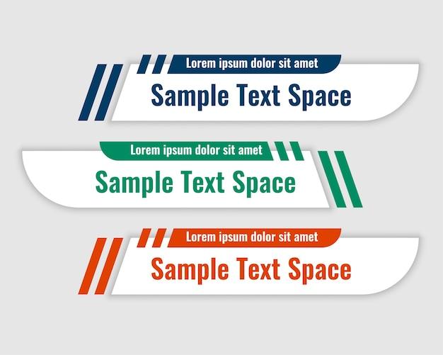 Banners do terço inferior em design de estilo curva
