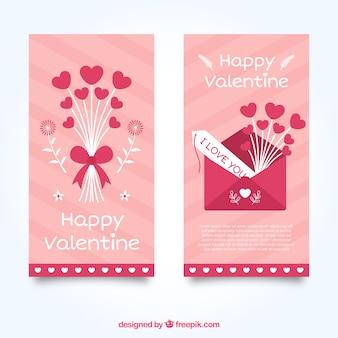 Banners dos namorados rosa com corações e envelope