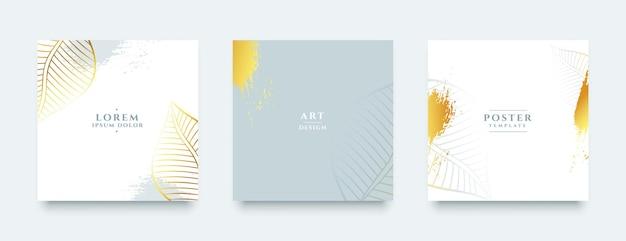 Banners dourados de luxo definidos para histórias de mídia social ou postagens