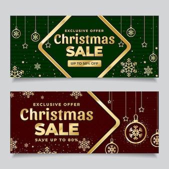 Banners dourados de venda de natal com desconto