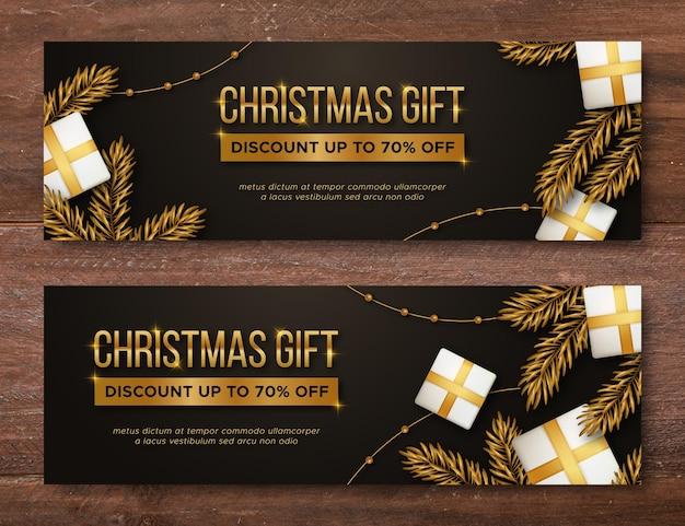 Banners dourados de venda de natal