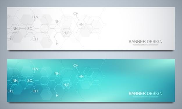 Banners e cabeçalhos com base de química abstrata e fórmulas químicas