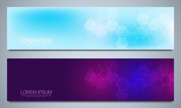 Banners e cabeçalhos de site com formação médica e estruturas moleculares. textura geométrica abstrata. design moderno para site de decoração e outras idéias.