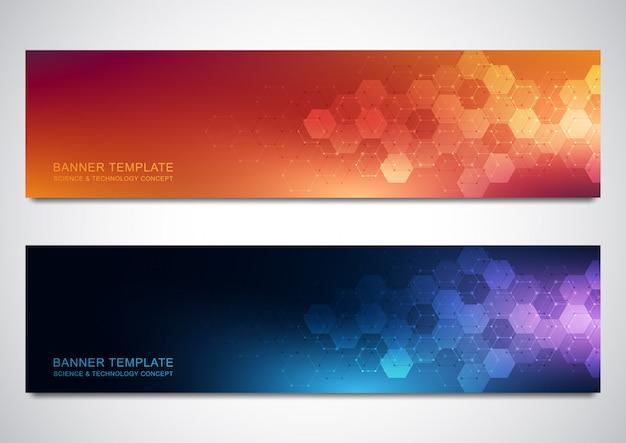 Banners e cabeçalhos de site com formação médica e padrão de hexágonos