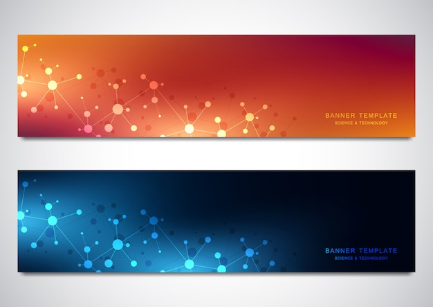 Banners e cabeçalhos de site com fundo de moléculas e rede neural