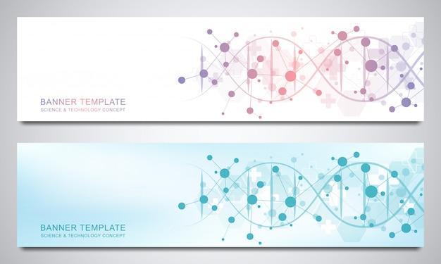 Banners e cabeçalhos para site com fita de dna e estrutura molecular. engenharia genética ou pesquisa de laboratório. textura geométrica abstrata para design de medicina, ciência e tecnologia.
