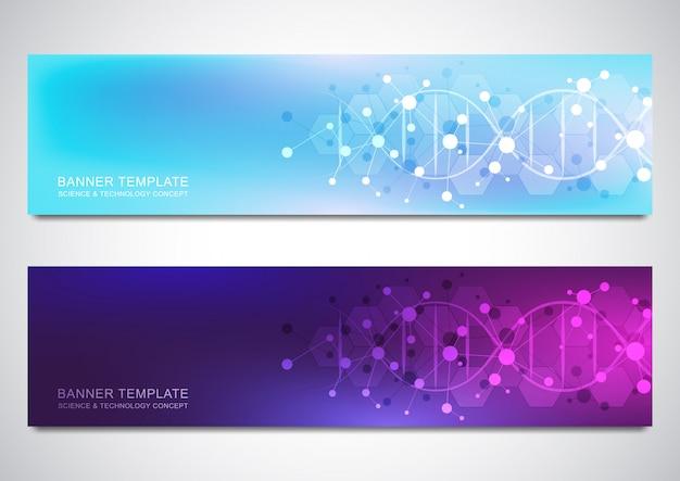 Banners e cabeçalhos para site com fita de dna e estrutura molecular