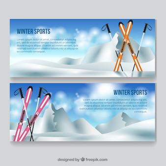 Banners é paisagem de neve com esquis