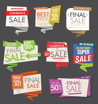 Banners e rótulos de venda moderna