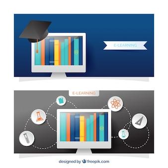 Banners educativos digitais realistas