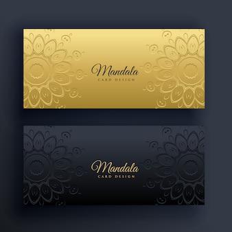 Banners elegantes de ouro e mandala preta
