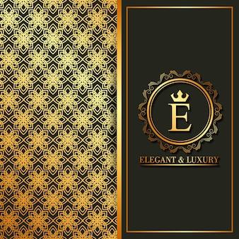 Banners elegantes e luxuosos de flores de monograma dourado