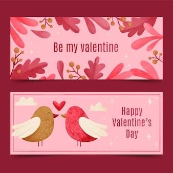Banners em aquarela do dia dos namorados com pássaros