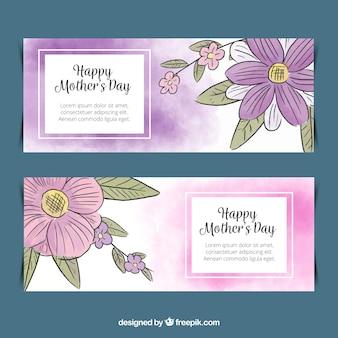 Banners em aquarela para o dia das mães