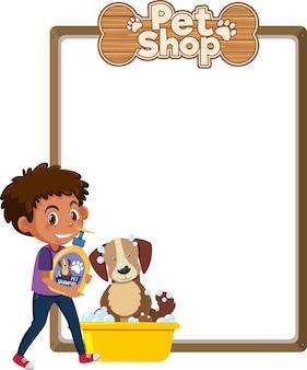 Banners em branco com logotipo de criança, cachorro fofo e pet shop isolado no fundo branco