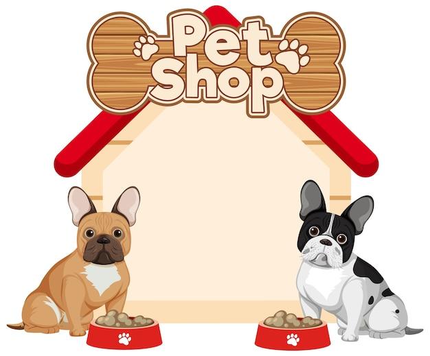 Banners em branco de casinha de cachorro com cachorros fofos