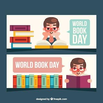 Banners em design plano para o dia internacional do livro