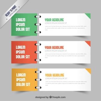 Banners em estilo notebook