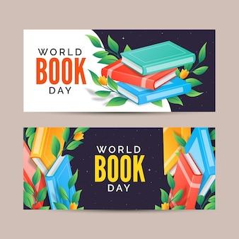 Banners em gradiente do dia mundial do livro
